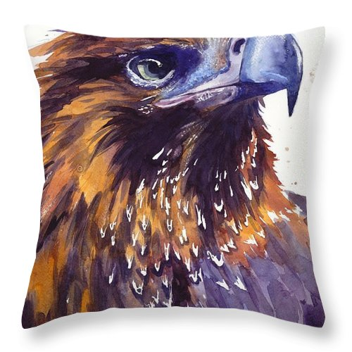 Pigeons Throw Pillow featuring the painting Eagle's Head by Suzann Sines
