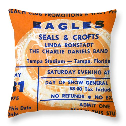 Eagles Rock Band Throw Pillow featuring the photograph Eagles Tampa Stadium 1975 by David Lee Thompson