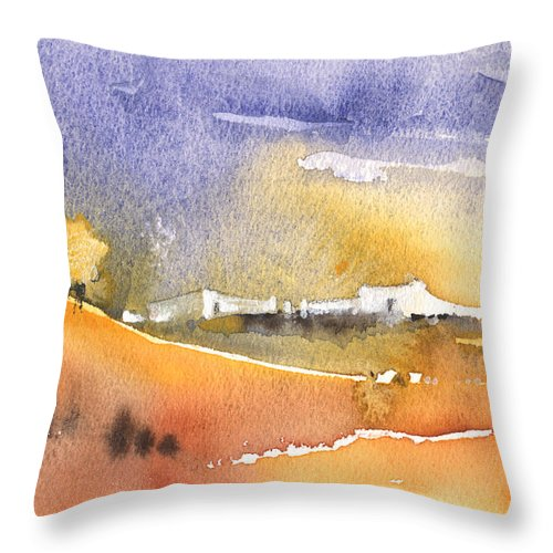 Landscape Throw Pillow featuring the painting Early Afternoon 04 by Miki De Goodaboom