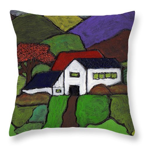 Farm Throw Pillow featuring the painting Early Autumn by Wayne Potrafka