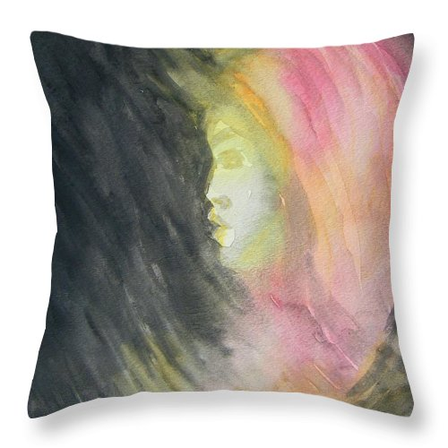 Abstract Throw Pillow featuring the painting Early Fear Well Taught by Judith Redman