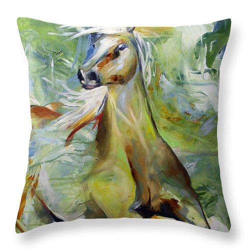 Horse Paintings Throw Pillow featuring the painting Early Hint Of Spring by Laurie Pace