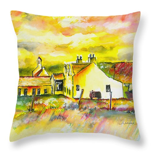 Barn Throw Pillow featuring the painting Early Morning by Arline Wagner