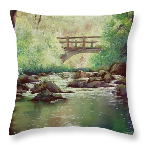 Landscape Throw Pillow featuring the pastel Early Morning At Gulpha Gorge by Marlene Gremillion