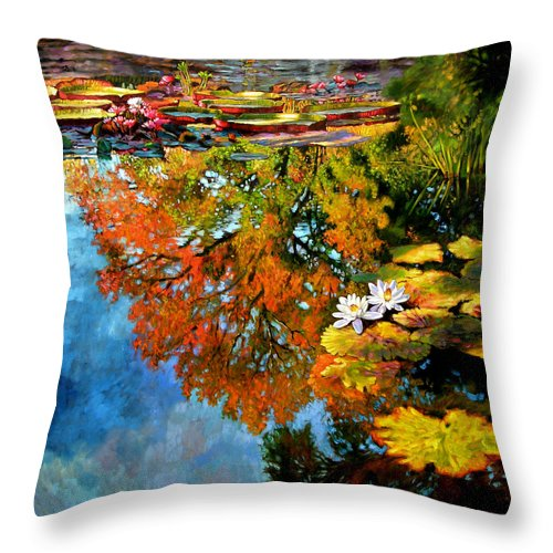 Landscape Throw Pillow featuring the painting Early Morning Fall Colors by John Lautermilch
