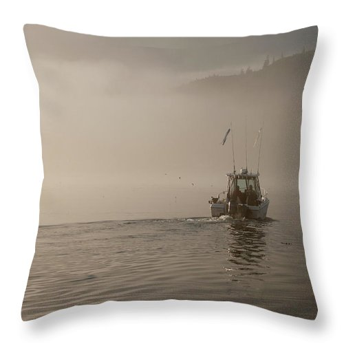 Places Throw Pillow featuring the photograph Early Morning Fishing Boat by Chad Davis