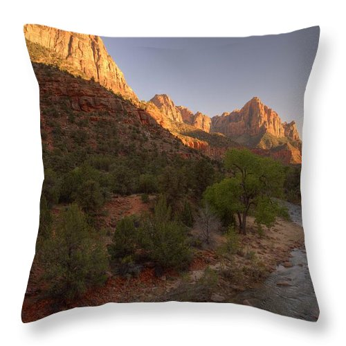 Zion National Park Throw Pillow featuring the photograph Early Morning Hike At Zion National Park by Hany J
