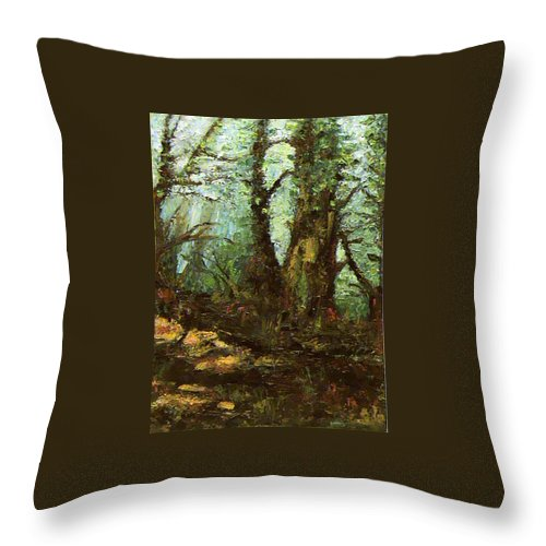 Landscape Throw Pillow featuring the painting Early Morning In The Forest by Ioulia Sotiriou