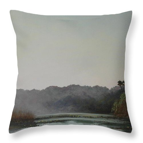 Lakes Throw Pillow featuring the painting Early Morning Mist by Michael Nowak