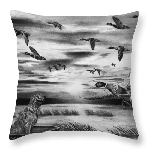 Early Morning Throw Pillow featuring the drawing Early Morning by Peter Piatt