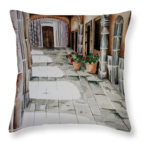 Mexican City Painting Throw Pillow featuring the painting Early Morning San Miguel by Kandyce Waltensperger