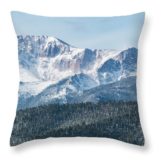 Pikes Peak Throw Pillow featuring the photograph Early Morning Snow On Pikes Peak by Steve Krull