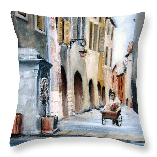 Italy Throw Pillow featuring the painting Early Morning Vendor by Leonardo Ruggieri
