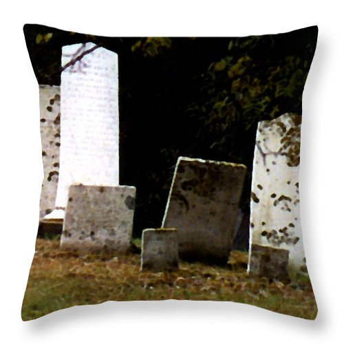 Grave Stones Throw Pillow featuring the painting Early Settlers by Paul Sachtleben