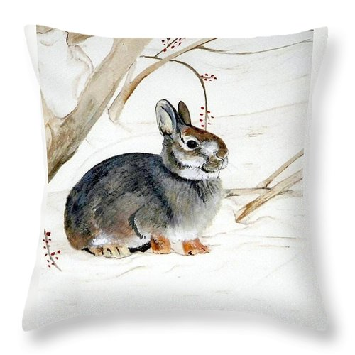 Rabbit Throw Pillow featuring the painting Early Snow by Debra Sandstrom