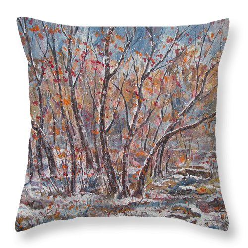Landscape Throw Pillow featuring the painting Early Snow. by Leonard Holland