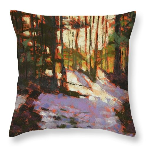 Landscape Throw Pillow featuring the painting Early Spring Near Hyak by Mary McInnis