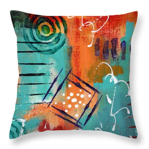 Abstract Throw Pillow featuring the painting Early Stage Four by Suzzanna Frank