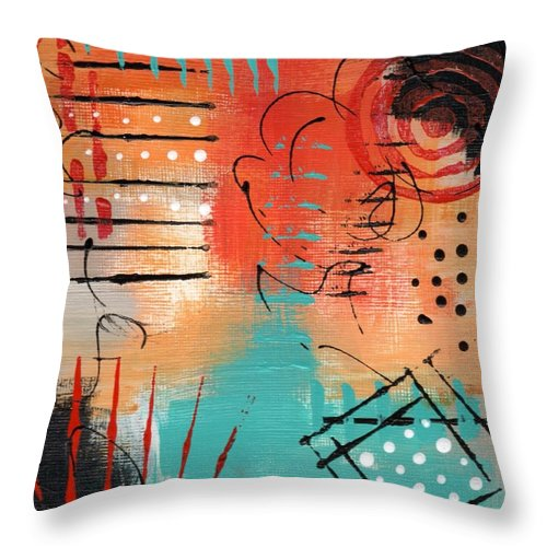 Abstract Throw Pillow featuring the painting Early Stage Three by Suzzanna Frank