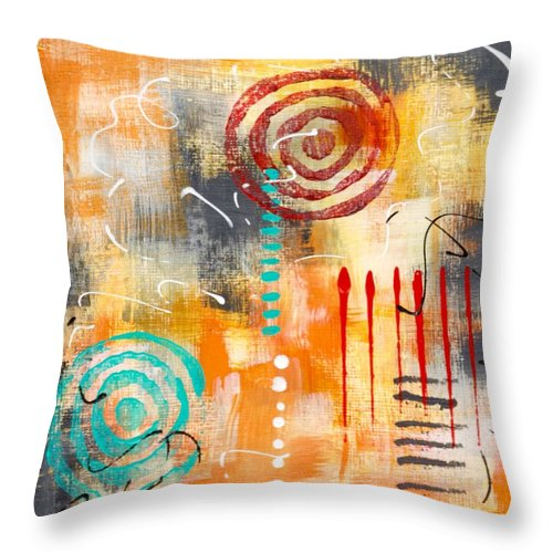Abstract Throw Pillow featuring the painting Early Stage Two by Suzzanna Frank