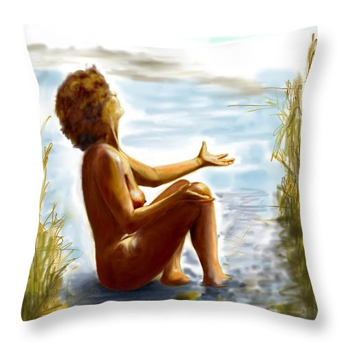 Lady Throw Pillow featuring the digital art Early Summer In Bavaria by Helmut Rottler