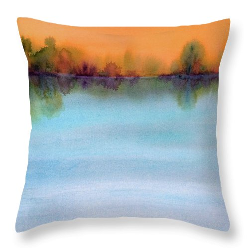 Landscape Throw Pillow featuring the painting Early View by Renee Chastant