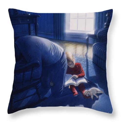 Devotion Throw Pillow featuring the painting Early Will I Seek Thee by Cliff Hawley