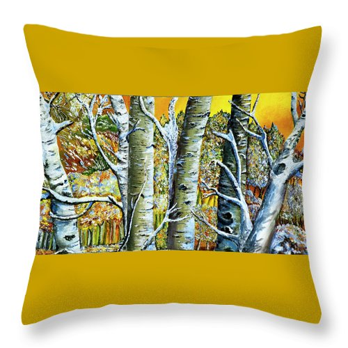 Landscape Throw Pillow featuring the painting Early Winter by Terry R MacDonald