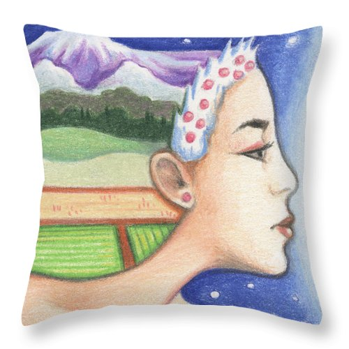 Atc Throw Pillow featuring the drawing Earth - The Elements by Amy S Turner
