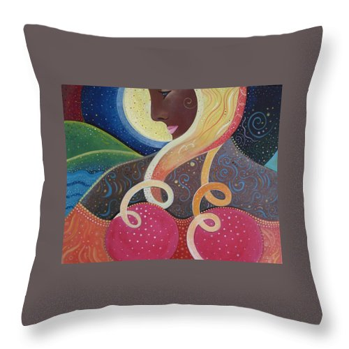 Angel Throw Pillow featuring the painting Earth Angel by Helena Tiainen