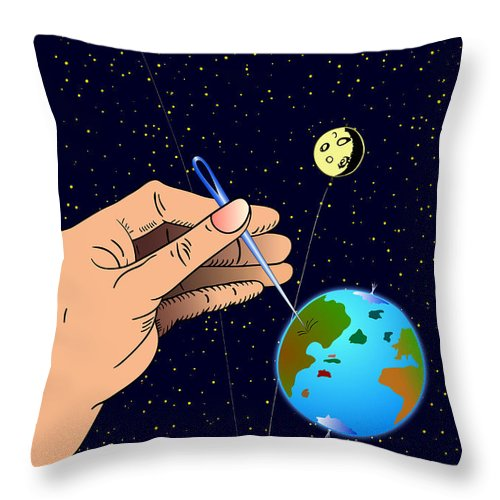 Ironic Throw Pillow featuring the digital art Earth Like An Inflatable Balloon by Michal Boubin