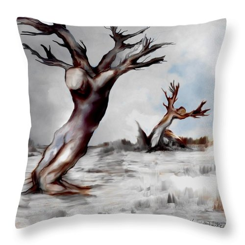 Trees Soul Nature Sky Storm Freedom Throw Pillow featuring the mixed media Earthbound by Veronica Jackson