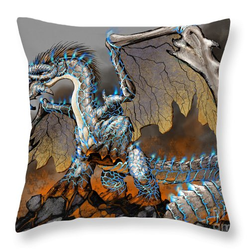 Fantasy Throw Pillow featuring the digital art Earthquake Dragon by Stanley Morrison