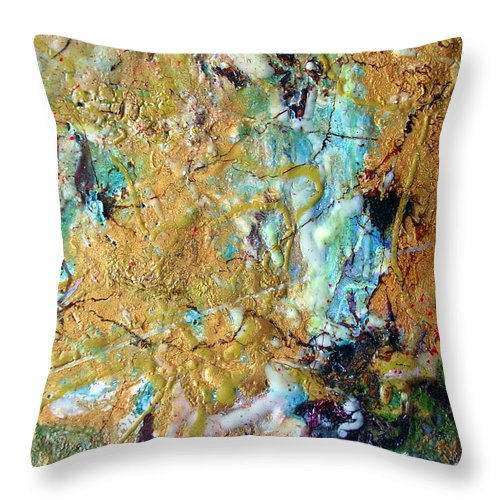 Art Throw Pillow featuring the painting Earth's Embrace by Dawn Hough Sebaugh