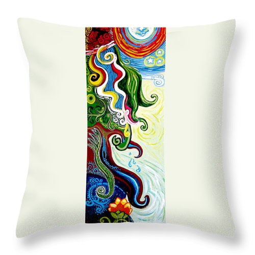 Mother Earth Throw Pillow featuring the painting Earths Tears by Genevieve Esson