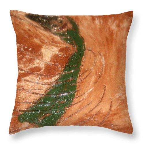 Jesus Throw Pillow featuring the ceramic art Earths Wind - Tile by Gloria Ssali