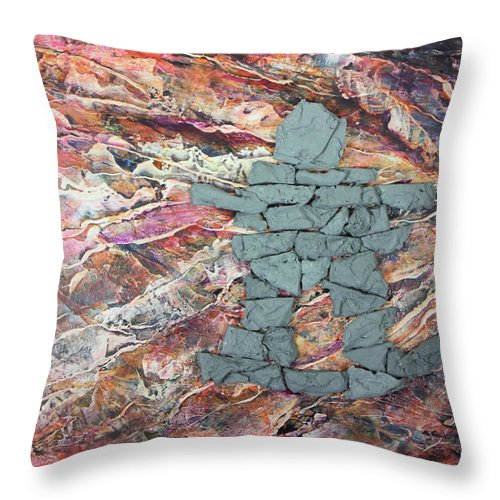 Throw Pillow featuring the painting Earthwaves Inukshuk by Madeleine Arnett