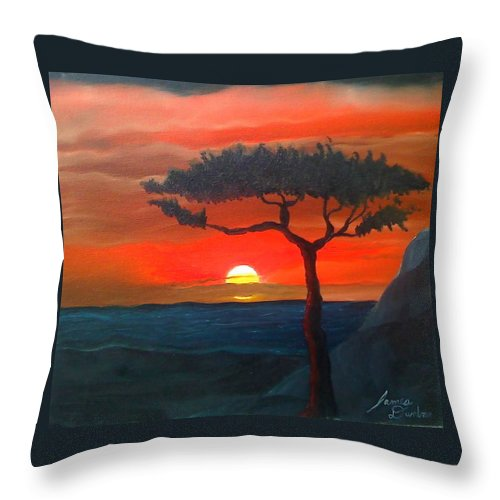 Africa! Throw Pillow featuring the painting East African Sunset by Portland Art Creations