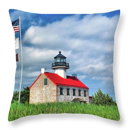 Bay Throw Pillow featuring the photograph East Point Lighthouse Nj by Nick Zelinsky