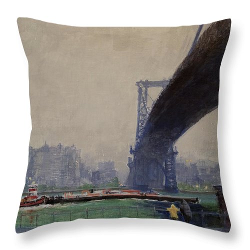 Landscape Painting Throw Pillow featuring the painting East River Mist by Peter Salwen