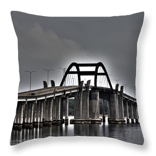 Lewisville Lake Toll Bridge Throw Pillow featuring the photograph East-west Connection by Douglas Barnard