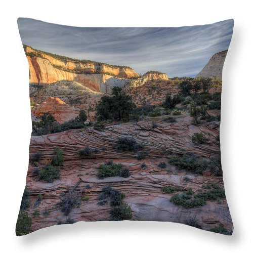 Hdr Throw Pillow featuring the photograph East Zion Canyon Sunrise by Sandra Bronstein