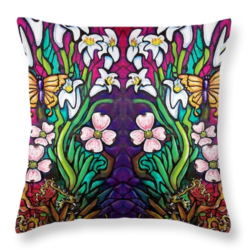 Easter Throw Pillow featuring the painting Easter Banner by Kevin Middleton