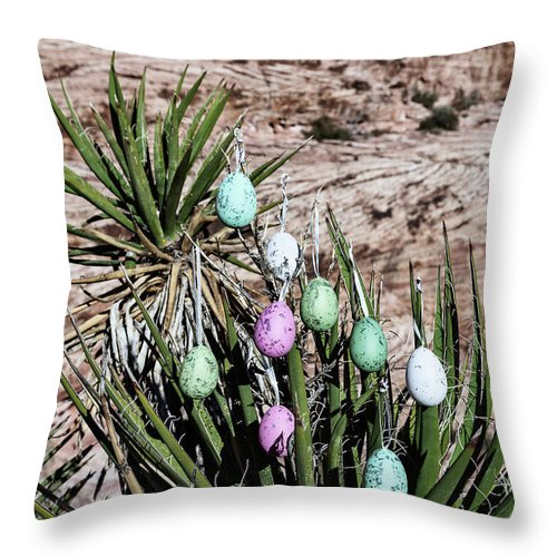 Evgeniya Lystsova Throw Pillow featuring the photograph Easter Eggs On The Tree by Evgeniya Lystsova