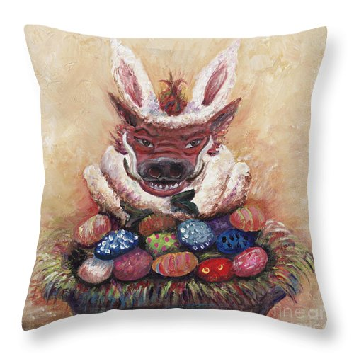 Easter Throw Pillow featuring the painting Easter Hog by Nadine Rippelmeyer