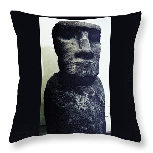 Easter Island Throw Pillow featuring the painting Easter Island Stone Statue by Eric Schiabor