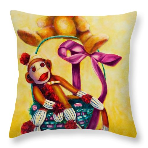 Easter Throw Pillow featuring the painting Easter Made Of Sockies by Shannon Grissom
