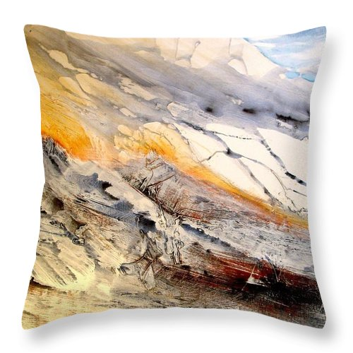 Landscape Throw Pillow featuring the painting Eastern Sierra by Paul Miller