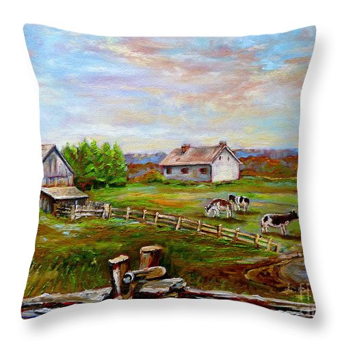 Ile D'orleans Throw Pillow featuring the painting Eastern Townships Quebec Country Scene by Carole Spandau