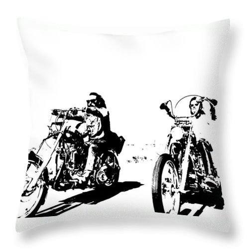 Movie Images. Throw Pillow featuring the mixed media Easy Rider by Paul Scotland